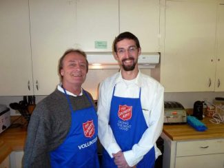 Jimmy Powers, left, and Eric Norland run the Salvation Army's Extreme Weather Shelter in Grass Valley.