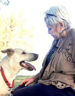 Susan Wallace, founder of Schooter's Pals, and Chance.