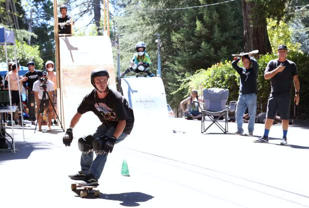 Mike Radan competes in the 2016 Gold Rush Classic Skateboard Race hosted by the N-Men down Nimrod St in Nevada City Saturday.