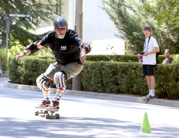 Skateboarders compete in the 2016 Gold Rush Classic Skateboard Race down Nimrod Street in Nevada City Saturday.