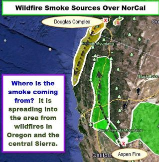 The graphic displays the contributing forces to the visible layer of smoke in the atmosphere above Nevada County.