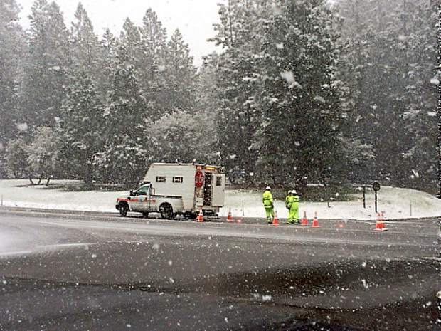 Chain controls were in effect on Highway 20.