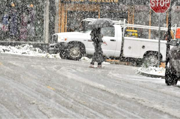 Numerous slow-speed collisions Tuesday morning were caused by the wet, slushy snow that made a brief appearance as far down the hill as Alta Sierra.