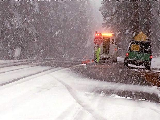 Chain controls were in effect on Highway 20 at Old Five Mile House.