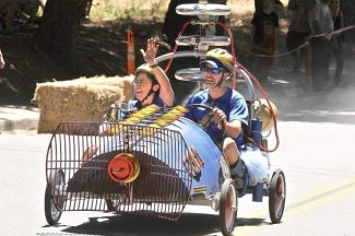 A two-person derby car heads down Nimrod Street in Nevada City during the third annual Nevada City Soapbox Derby in June.