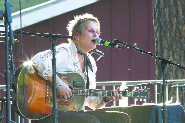 Mary Gauthier performs during Strawberry Festival at the Nevada County Fairgrounds Friday evening.