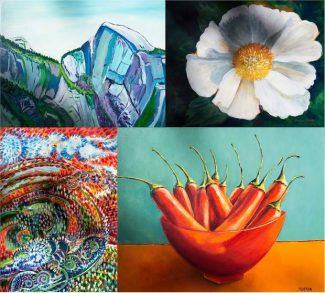Examples of LeeAnn Brook student show work: Top left: Caroline Courtright; Top right: Marcia Accola; Bottom left: Andrea Eiermann; Bottom right: Sharon Norton.