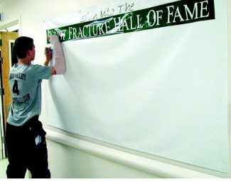 Paul Raymore/Sierra Sun Snowboarder Mark Bauhs, 15, was the first to sign the Wrist Fracture Hall of Fame at Tahoe Forest Hospital.