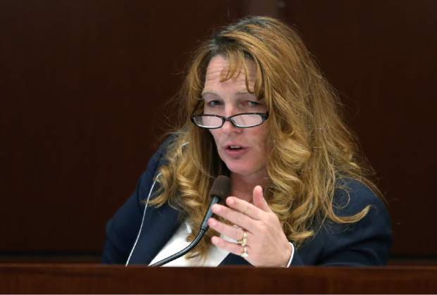 Nevada Assembly Speaker Marilyn Kirkpatrick, D-North Las Vegas, speaks on the Assembly floor during the second day of a special session at the Nevada Legislature, in Carson City, Nev., on Thursday, Sept. 11, 2014. Lawmakers are considering a complex deal to bring Tesla Motors to Nevada. (AP Photo/Cathleen Allison)