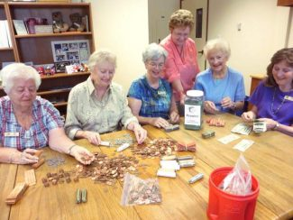 Friends of Hospice members count pennies as part of their semi-annual fundraiser for Hospice of the Foothills. From left are Nina Schott, Priscilla McNaught, Jan Sherman, Pat Hays and Sandy Blake. Standing is Judy Nelson, chairperson of the event.