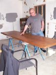 With the help of his parents, Twelve 28 Kitchen owner/chef Zach Sterner is hand-crafting the tables from knotty alder for the 49-seat restaurant.