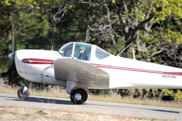 Frank Robinson of Healdsburg flew as a member of the United Flying Octogenarians (UFO) to the Nevada County Air Park. Wednesday morning. The national organization has around 1,500 members. Their membership requires that they did fly at least once after their 80th birthday.