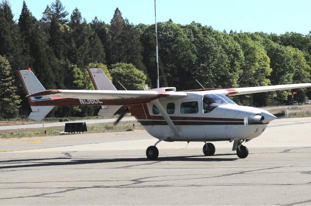 Orin and Jacque Koukol of Sacramento flew a 1978 Cessna Spymaster plane as part of the United Flying Octogenarians (UFO), to the Nevada County Air Park Wednesday morning. The national organization has around 1,500 members. Their membership requires that they did fly at least once after their 80th birthday.