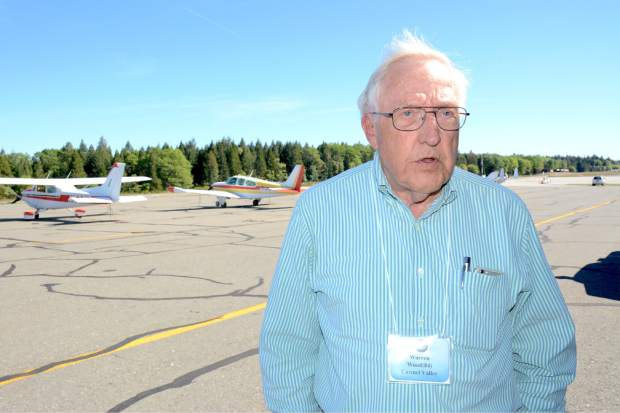 Warren Wood of Carmel Valley was among the United Flying Octogenarians (UFO) who flew in the Nevada County Air Park Wednesday morning. The national organization has around 1,500 members. Their membership requires that they did fly at least once after their 80th birthday.