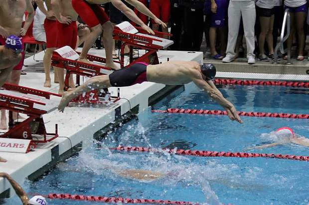 dillon virva comes off the starting block in a relay event during western athletic conference wac meet - Olympic Swimming Starting Blocks