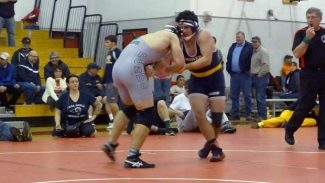Nevada Union's T.J. Hart competes at the Joe Rios Memorial Tournament in Chico. Hart placed second in his weight class.
