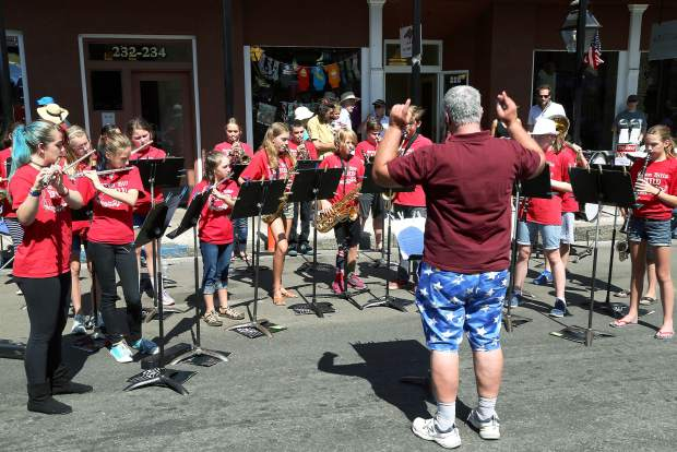 Band performs before the Constitution Day Parade in Nevada City Sunday afternoon.
