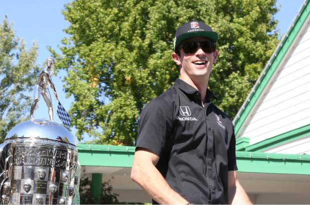 Alexander Rossi at the Constitution Day Parade in Nevada City Sunday afternoon.