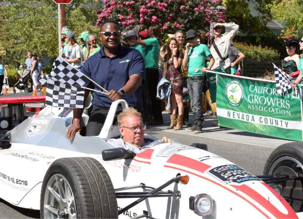 Del Rogers at the Constitution Day Parade in Nevada City Sunday afternoon.