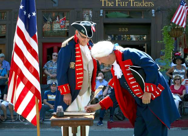 Reenactment of the Constitution signing before the Constitution Day Parade in Nevada City Sunday afternoon.