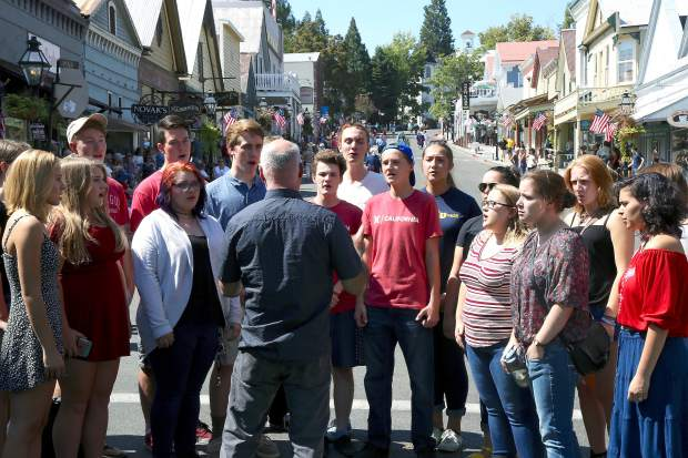 Nevada Union Choir before before the Constitution Day Parade in Nevada City Sunday afternoon.