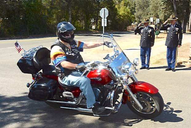 A veteran biker makes his way to the event.