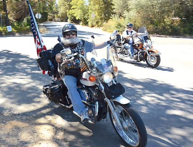 Sgt. First Class Louis Rodriguez and Sgt. First Class Leonard Labrada, both US Army, welcomed the bikers into the park. On Saturday the Welcome Home Vets 7th annual Family Fun Bike Run & BBQ honored Nevada County veterans and their families at Western Gateway Park in Penn Valley.