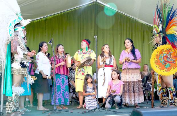 Dana Kinachtli performs during the WorldFest opening ceremonies at the Nevada County Fairgrounds Thursday evening.