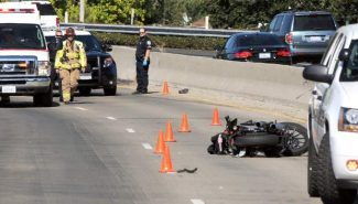 An Accident on Highway 49 south bound involved this motorcycle between Bennett and South Auburn Streets, Grass Valley, Wednesday afternoon.