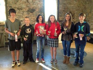 Taking top honors at Thursday's Nevada County Writing Tournament at the Miners Foundry in Nevada City were, from left, Devin Anderson, Seanan Maher, Leah Ellis, Annie McDaniel, Savannah Collyer and Ryan Brott.