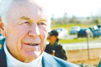 This file photo shows Chuck Yeager at a recent birthday celebration at Beale Air Force Base.