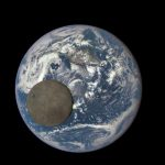 Earth and moon, imaged by the DSCOVR spacecraft, a million miles from Earth. Both are lit full-on by the sun – notice how dark the moon is, and the hurricane making landfall in Baja.