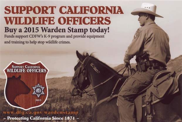 California Fish and Wildlife Warden Jerry Karnow and his horse, Modoc, on a promotional ad for the 2015 Warden Stamp.