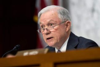 Senate Judiciary Committee member Sen. Jeff Session, R-Ala. questions Attorney General nominee Loretta Lynch on Capitol Hill in Washington, Wednesday, Jan. 28, 2015, during the committee's hearing on Lynch's nomination. If confirmed, Lynch would replace Attorney General Eric Holder, who announced his resignation in September after leading the Justice Department for six years. The 55-year-old federal prosecutor would be the nation's first black female attorney general. (AP Photo/Susan Walsh)