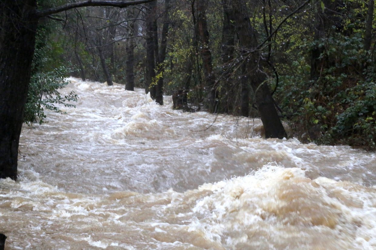 Wolf Creek in Grass Valley gushes with water Saturday morning.