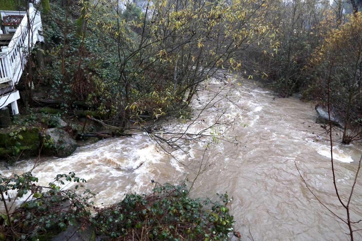 Deer Creek in Nevada City gushes with water Saturday morning.