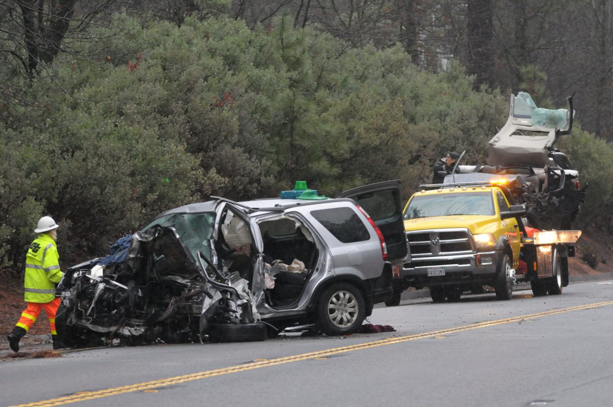 The drivers of both vehicles involved in a head on collision died on Highway 49 north of Alta Sierra Drive Thursday morning.