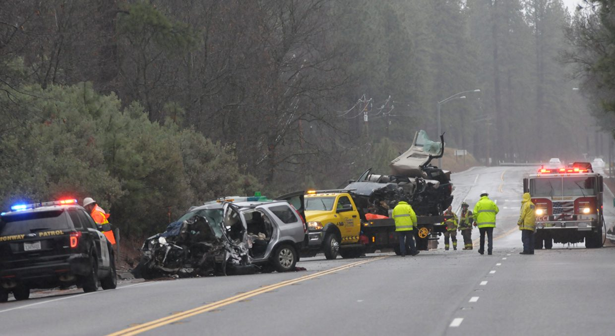 Two men died from a head on collision on Highway 49 north of Alta Sierra Thursday morning.