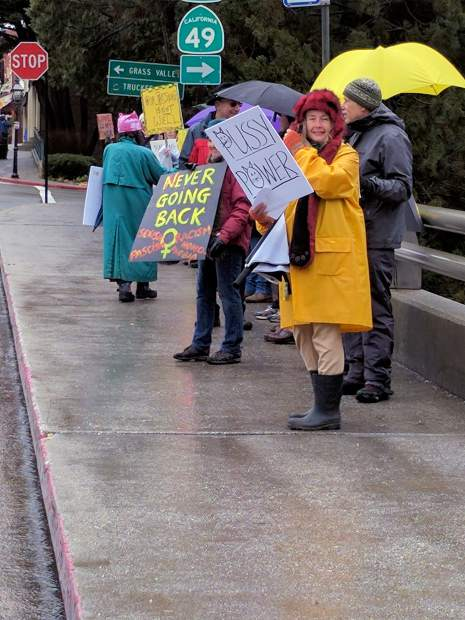 Protesters gather on the Broad Street bridge over Highway 49 in Nevada City on Saturday morning.