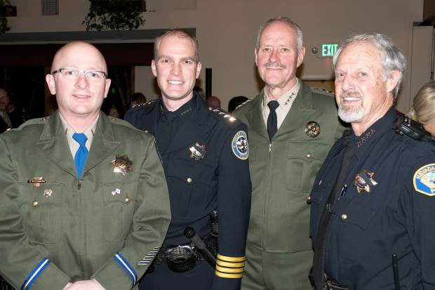 Four local law enforcement chiefs attended the event. From left to right: California Highway Patrol Area Commander George Steffenson, Grass Valley Police Chief Alex Gammelgard, Nevada County Sheriff Keith Royal and Nevada City Police Chief Tim Foley.