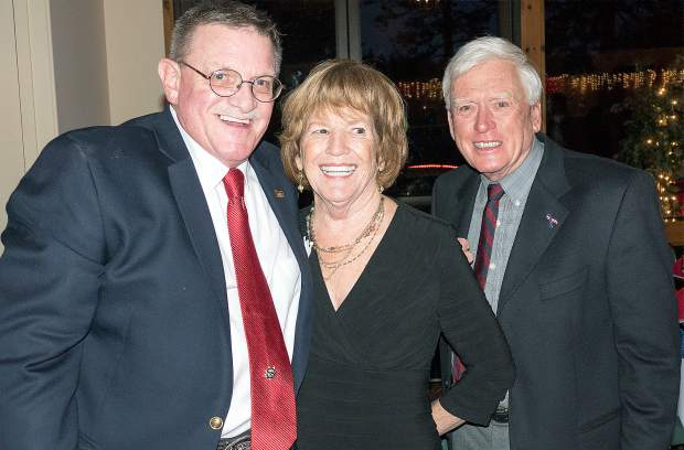 Bill Drown (left) with Kenneth Baker on the 2016-17 Associate Board, and his wife Kay Baker.