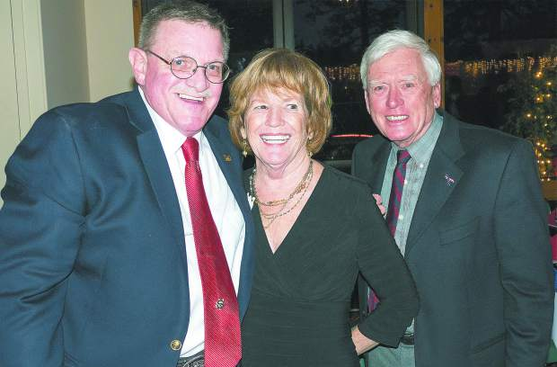 Photo by John Hart the 18th Annual Red Light Ball, presented by the Nevada County Law Enforcement and Fire Protection council, Saturday evening, Alta Sierra Country Club. Bill Drown(left) with Kenneth Baker on the 2016-17 Associate Board and his wife Kay Baker.