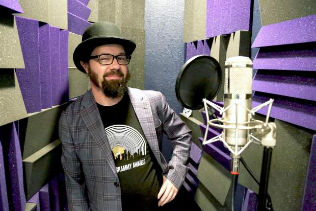 """Hip-hop artist Cactus Skidoo in the Nevada City studio Cedarsong Sound, where he created the Grammy Award-winning album """"Infinity Plus One."""" The album, which produced Skidoo's second Grammy nomination, won for """"Best Children's Album."""""""