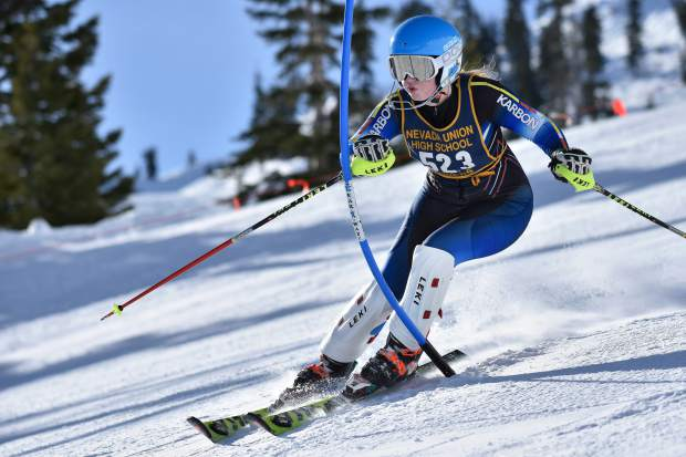 Nevada Union's Zoe Cohen, a sophomore, earned All-State honors as a freshman at last year's state races. She will be competing in both the girls slalom and giant slalom races at this year's state competition.