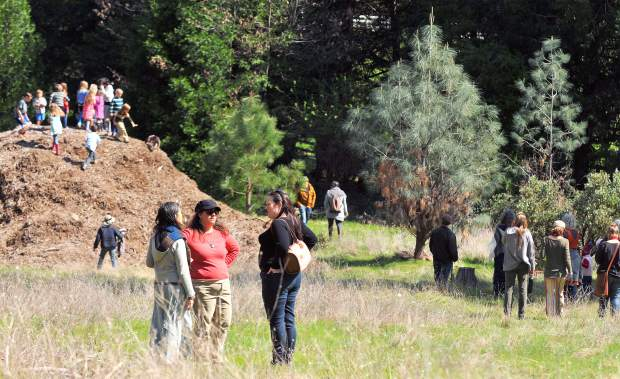 Parents and children wasted little time in exploring the grounds of the new Yuba River Charter School's campus following the ground breaking ceremony.