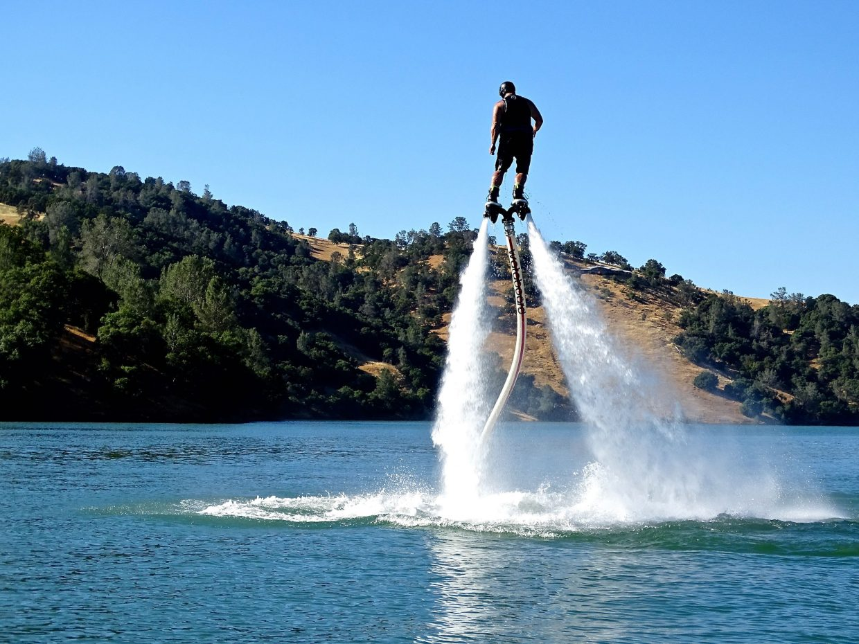 A flyboard user propels himself into the air with the power of water at Englebright Reservoir.
