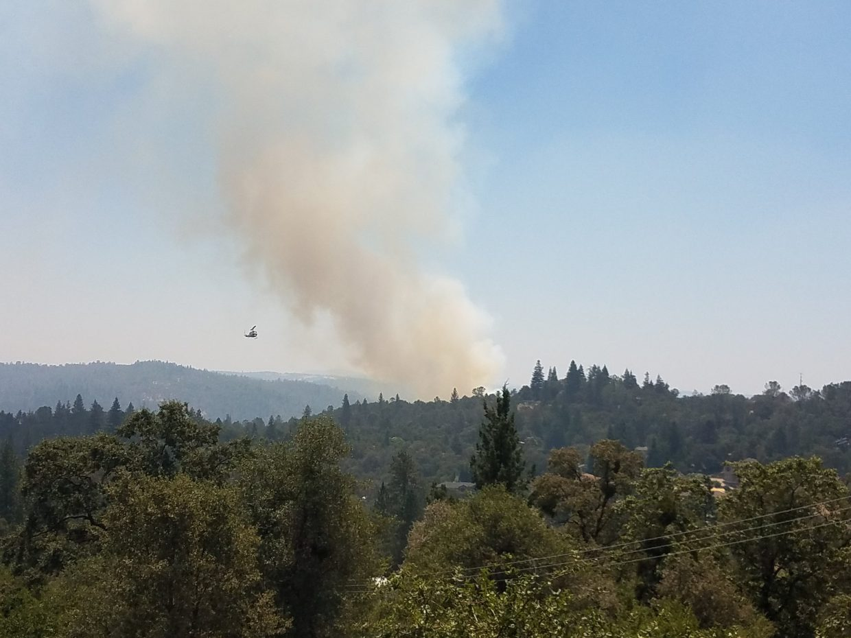 A plume of smoke from the Stagecoach Fire in at American River Canyon near Auburn Thursday.