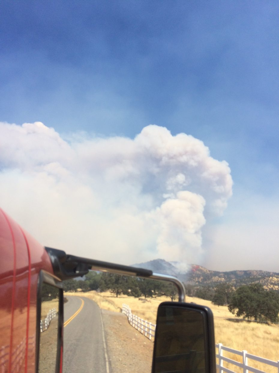 Smoke from the Detwiler Fire in Mariposa County.