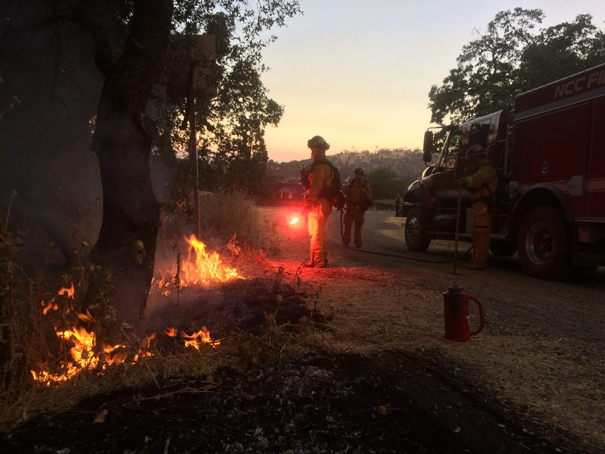 Fire units at the Detwiler Fire in Mariposa County.