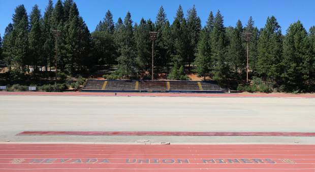 Nevada Union High School's Hooper Stadium has recently had it's old synthetic field turf removed and is awaiting the new turf to be installed.
